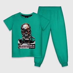 Пижама хлопковая детская Terminator T-800 цвета зеленый — фото 1