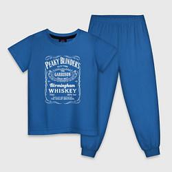 Пижама хлопковая детская Острые козырьки этикетка Виски цвета синий — фото 1