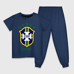 Пижама хлопковая детская Brasil CBF цвета тёмно-синий — фото 1