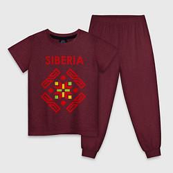 Пижама хлопковая детская Русский орнамент цвета меланж-бордовый — фото 1
