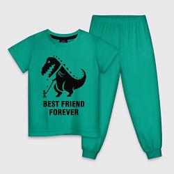 Пижама хлопковая детская Godzilla best friend цвета зеленый — фото 1