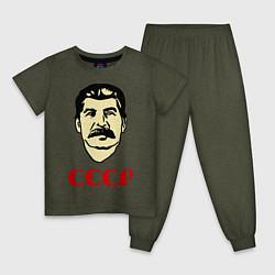Пижама хлопковая детская Сталин: СССР цвета меланж-хаки — фото 1