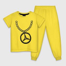 Пижама хлопковая детская Мерседес медальон цвета желтый — фото 1
