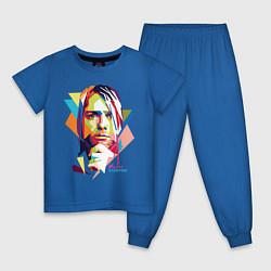 Пижама хлопковая детская Kurt Cobain: Colors цвета синий — фото 1