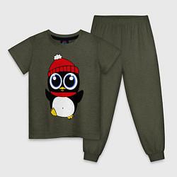 Пижама хлопковая детская Удивленный пингвинчик цвета меланж-хаки — фото 1
