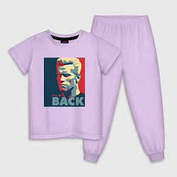Пижама хлопковая детская I'll be back цвета лаванда — фото 1