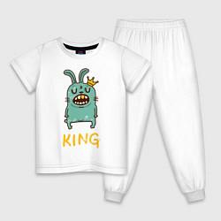 Пижама хлопковая детская Rabbit King цвета белый — фото 1