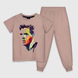 Пижама хлопковая детская Lionel Messi: fun-art цвета пыльно-розовый — фото 1