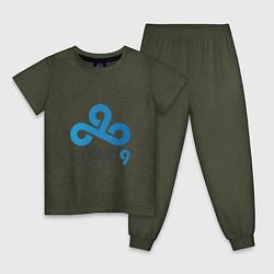 Пижама хлопковая детская Cloud9 цвета меланж-хаки — фото 1