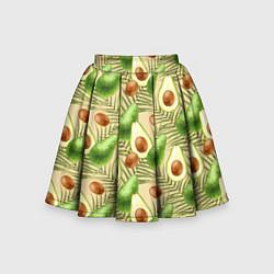Юбка-солнце для девочки Веган Авокадо узор цвета 3D — фото 1