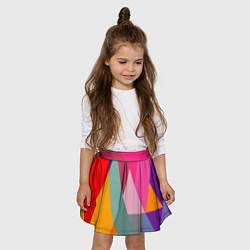 Юбка-солнце для девочки Разноцветные полигоны цвета 3D — фото 2