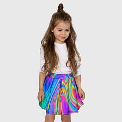Юбка-солнце для девочки Цветные разводы цвета 3D-принт — фото 2