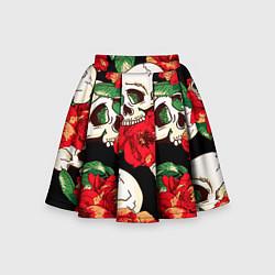 Детская юбка-солнце Черепки и розы