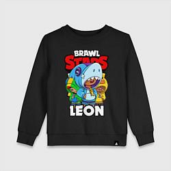 Свитшот хлопковый детский BRAWL STARS LEON цвета черный — фото 1