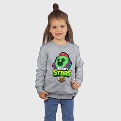 Свитшот хлопковый детский BRAWL STARS SPIKE цвета меланж — фото 2