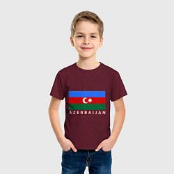 Футболка хлопковая детская Азербайджан цвета меланж-бордовый — фото 2