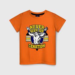Футболка хлопковая детская Never Give Up: Cenation цвета оранжевый — фото 1