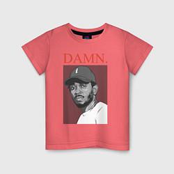 Футболка хлопковая детская Kendrick Lamar: DAMN цвета коралловый — фото 1