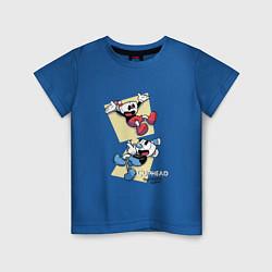Футболка хлопковая детская Cuphead Friends цвета синий — фото 1