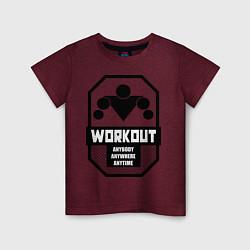 Футболка хлопковая детская WorkOut Anytime цвета меланж-бордовый — фото 1