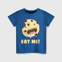 Футболка хлопковая детская Cake: Eat me! цвета синий — фото 1