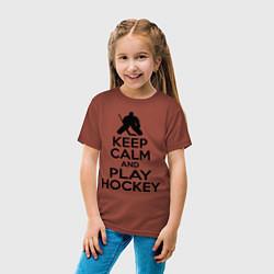 Футболка хлопковая детская Keep Calm & Play Hockey цвета кирпичный — фото 2