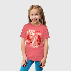 Футболка хлопковая детская Foo Fighters: FF Snake цвета коралловый — фото 2