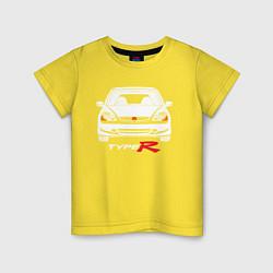 Футболка хлопковая детская Honda Civic: Type R цвета желтый — фото 1
