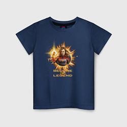 Футболка хлопковая детская Capt Marvel: Become a Legend цвета тёмно-синий — фото 1