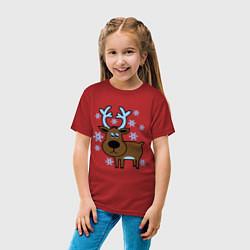 Футболка хлопковая детская Олень и снежинки цвета красный — фото 2