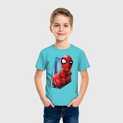 Футболка хлопковая детская Человек-паук и город цвета бирюзовый — фото 2