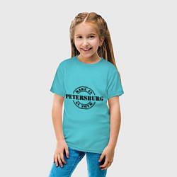 Футболка хлопковая детская Made in Petersburg цвета бирюзовый — фото 2
