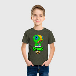 Футболка хлопковая детская BRAWL STARS LEON БРАВЛ СТАРС ЛЕОН цвета меланж-хаки — фото 2