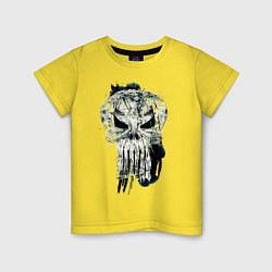 Футболка хлопковая детская Каратель Череп цвета желтый — фото 1