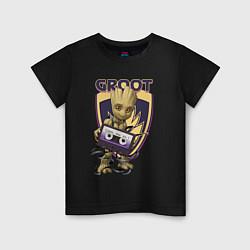 Футболка хлопковая детская Groot цвета черный — фото 1