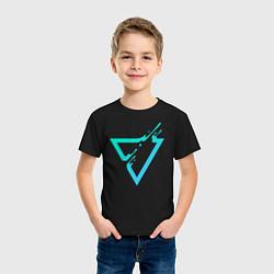 Футболка хлопковая детская Paint Drop Triangle цвета черный — фото 2