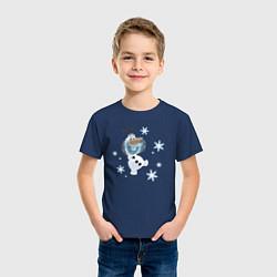 Футболка хлопковая детская Веселый Олаф цвета тёмно-синий — фото 2