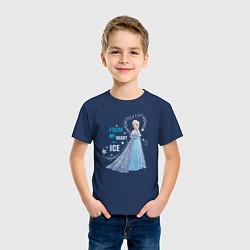 Футболка хлопковая детская Эльза: Холодное сердце цвета тёмно-синий — фото 2