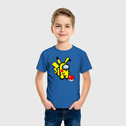 Футболка хлопковая детская Among us Pikachu and Pokeball цвета синий — фото 2