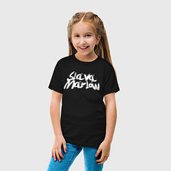 Футболка хлопковая детская Slava Marlow цвета черный — фото 2