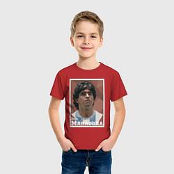 Футболка хлопковая детская DIEGO MARADONA цвета красный — фото 2
