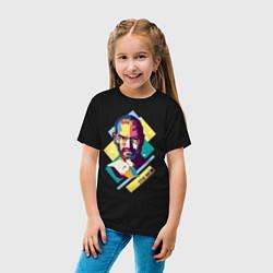 Футболка хлопковая детская Steve Jobs Art цвета черный — фото 2