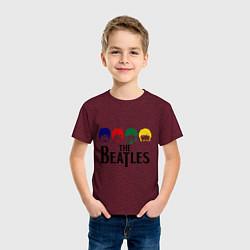 Футболка хлопковая детская The Beatles Heads цвета меланж-бордовый — фото 2