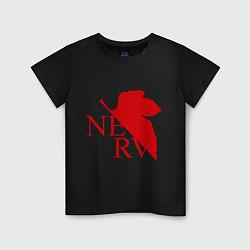 Футболка хлопковая детская Евангелион NERV цвета черный — фото 1