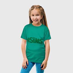 Футболка хлопковая детская Sims цвета зеленый — фото 2