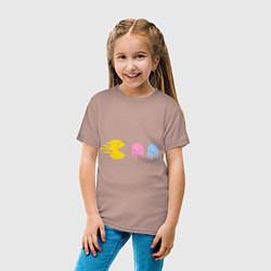 Футболка хлопковая детская Pac-Man: Fast Eat цвета пыльно-розовый — фото 2