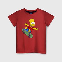 Футболка хлопковая детская Барт на скейте цвета красный — фото 1
