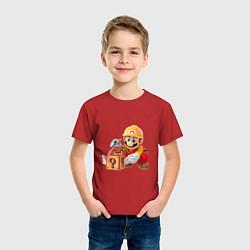 Футболка хлопковая детская Super Mario: Builder цвета красный — фото 2