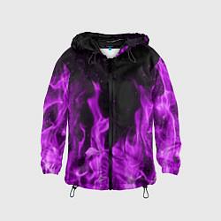 Ветровка с капюшоном детская Фиолетовый огонь цвета 3D-черный — фото 1