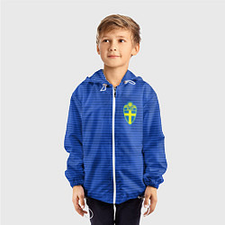 Ветровка с капюшоном детская Сборная Швеции: Гостевая ЧМ-2018 цвета 3D-белый — фото 2